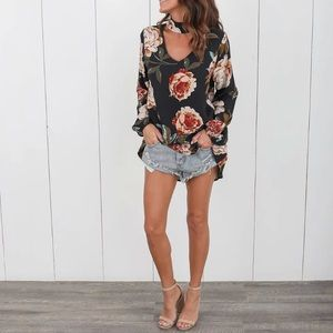 Autumn Floral Top  Blouse Womens Top